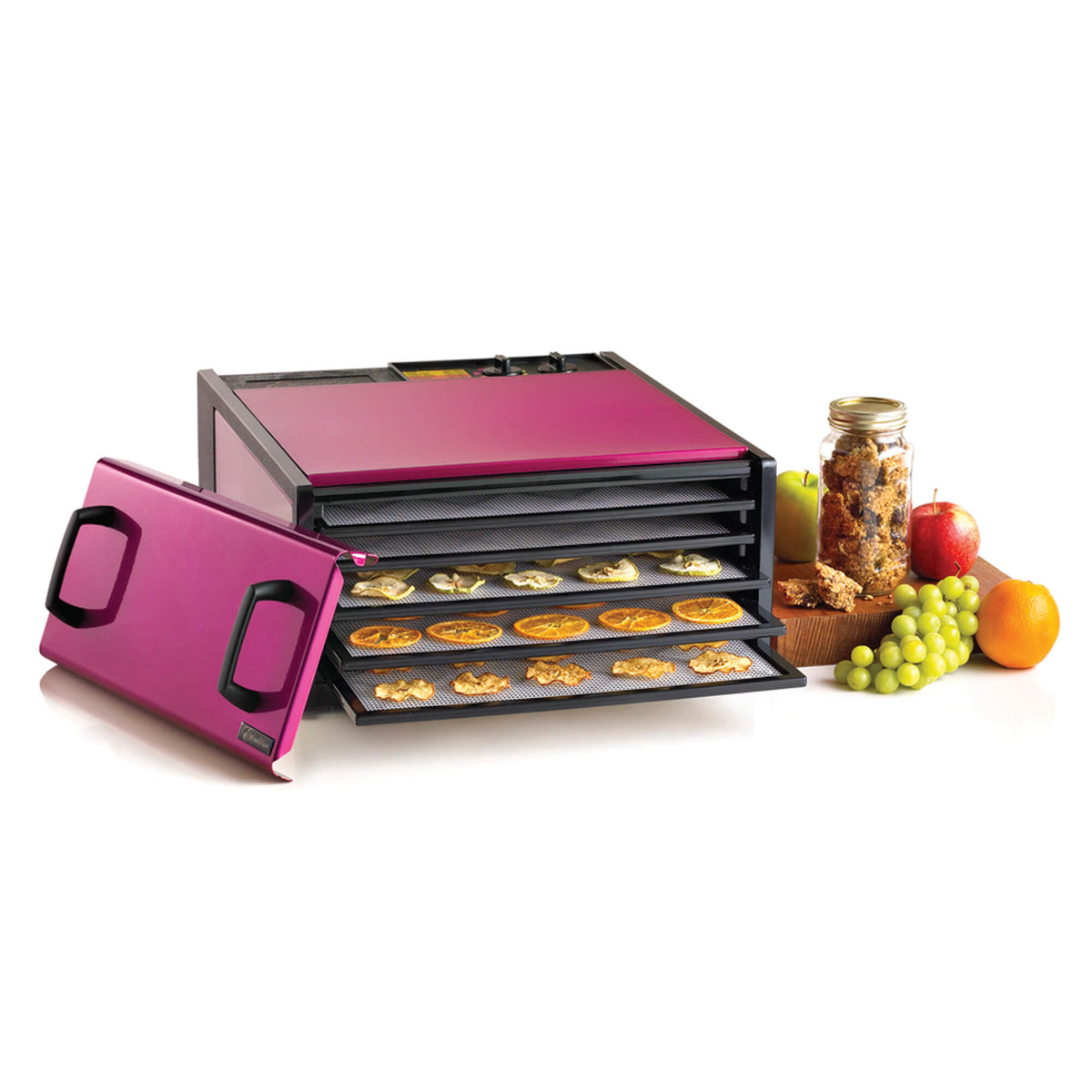 Excalibur D502RR Radiant Raspberry 5 tray stainless steel dehydrator with door propped to the side and food on the trays.