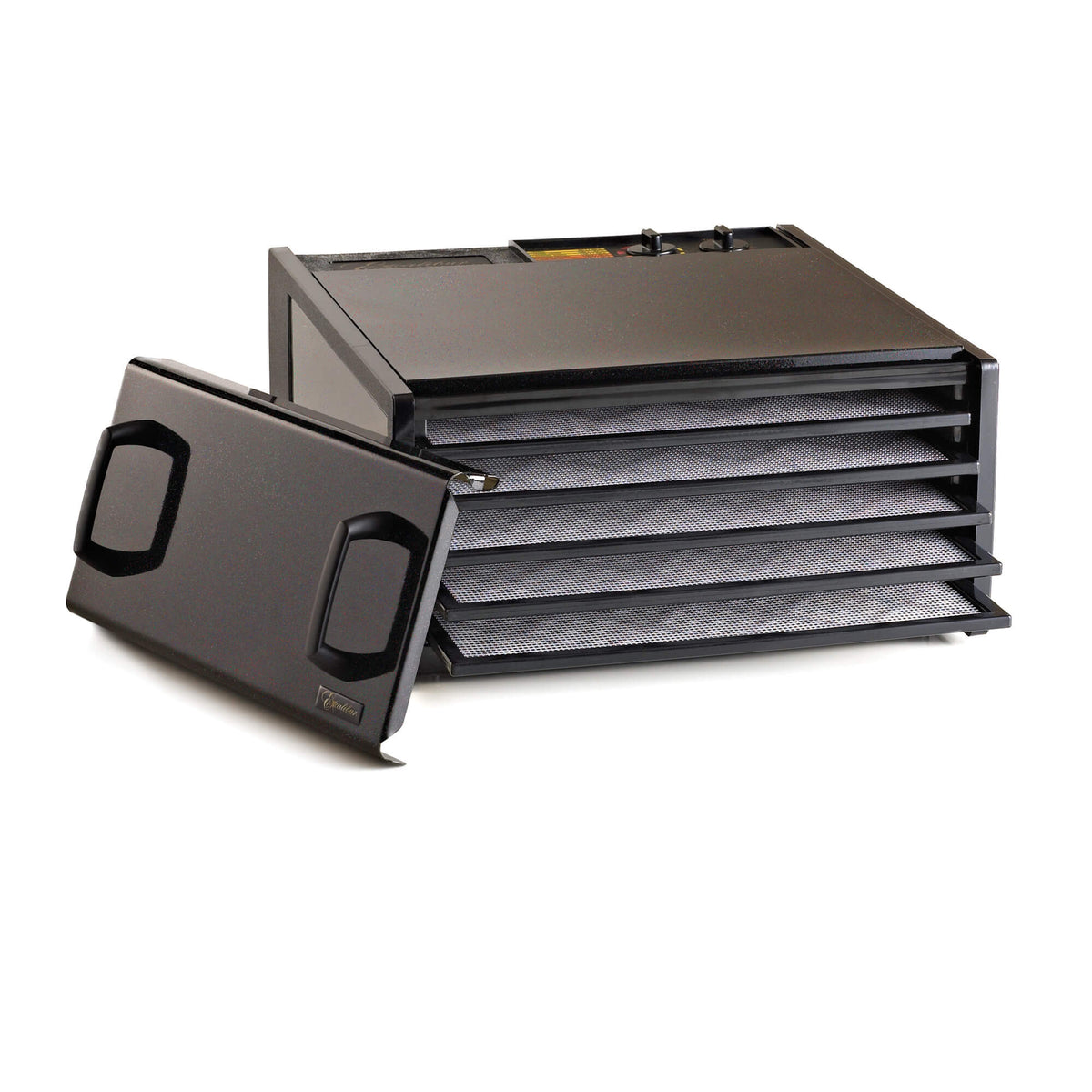 Excalibur D502TB Twilight Black 5 tray stainless steel dehydrator with door propped to the side and trays pulled out.