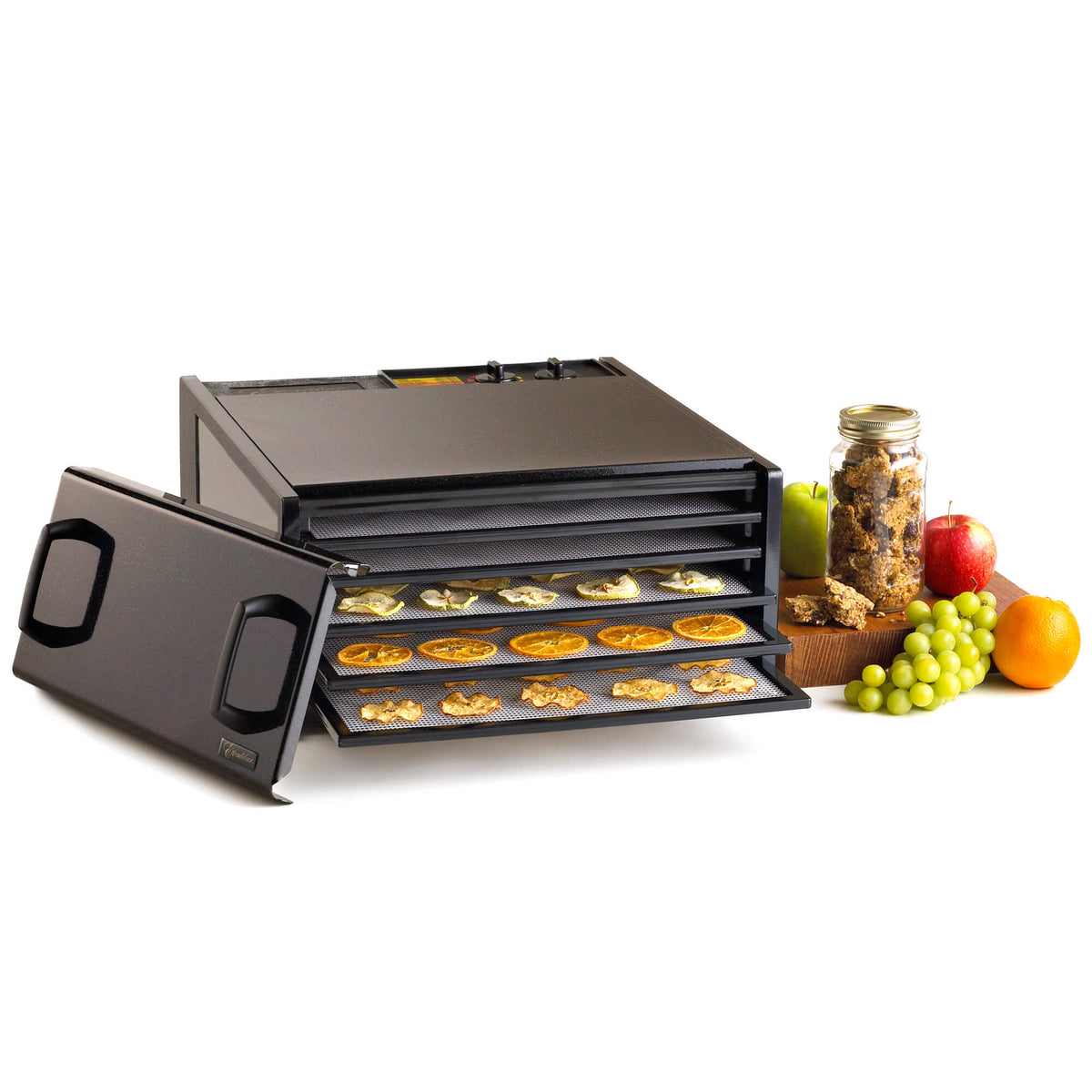 Excalibur D502TB Twilight Black 5 tray stainless steel dehydrator with door propped to the side and food on the trays.