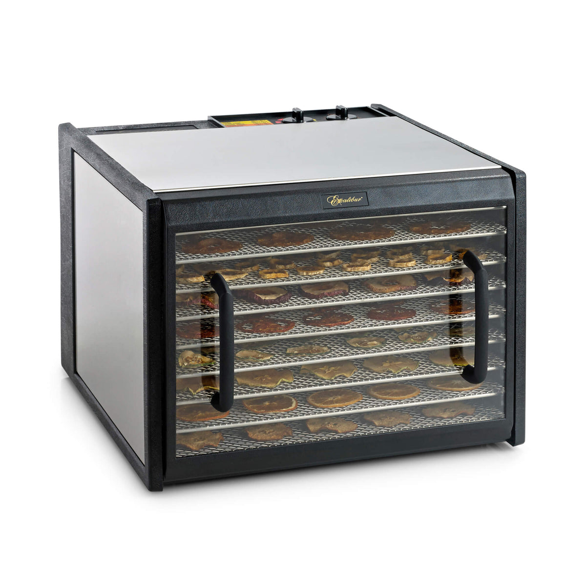 Excalibur D902CDSHD 9 tray stainless steel dehydrator with clear door closed and food on the trays.