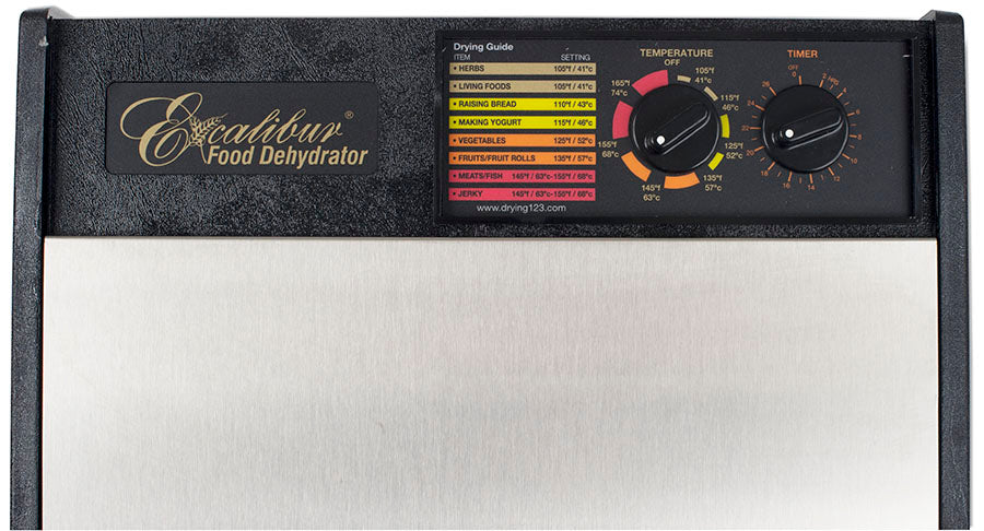 Excalibur D502CDSHD 5 tray stainless steel dehydrator analogue control knobs.
