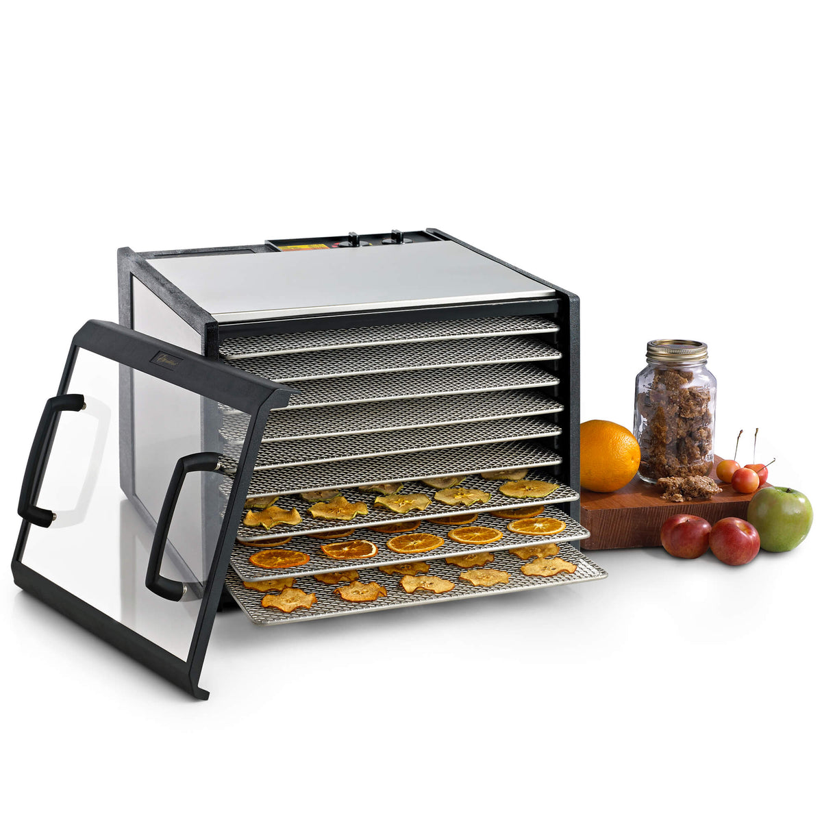 Excalibur D902CDSHD 9 tray stainless steel dehydrator with clear door propped to the side and food on the trays.