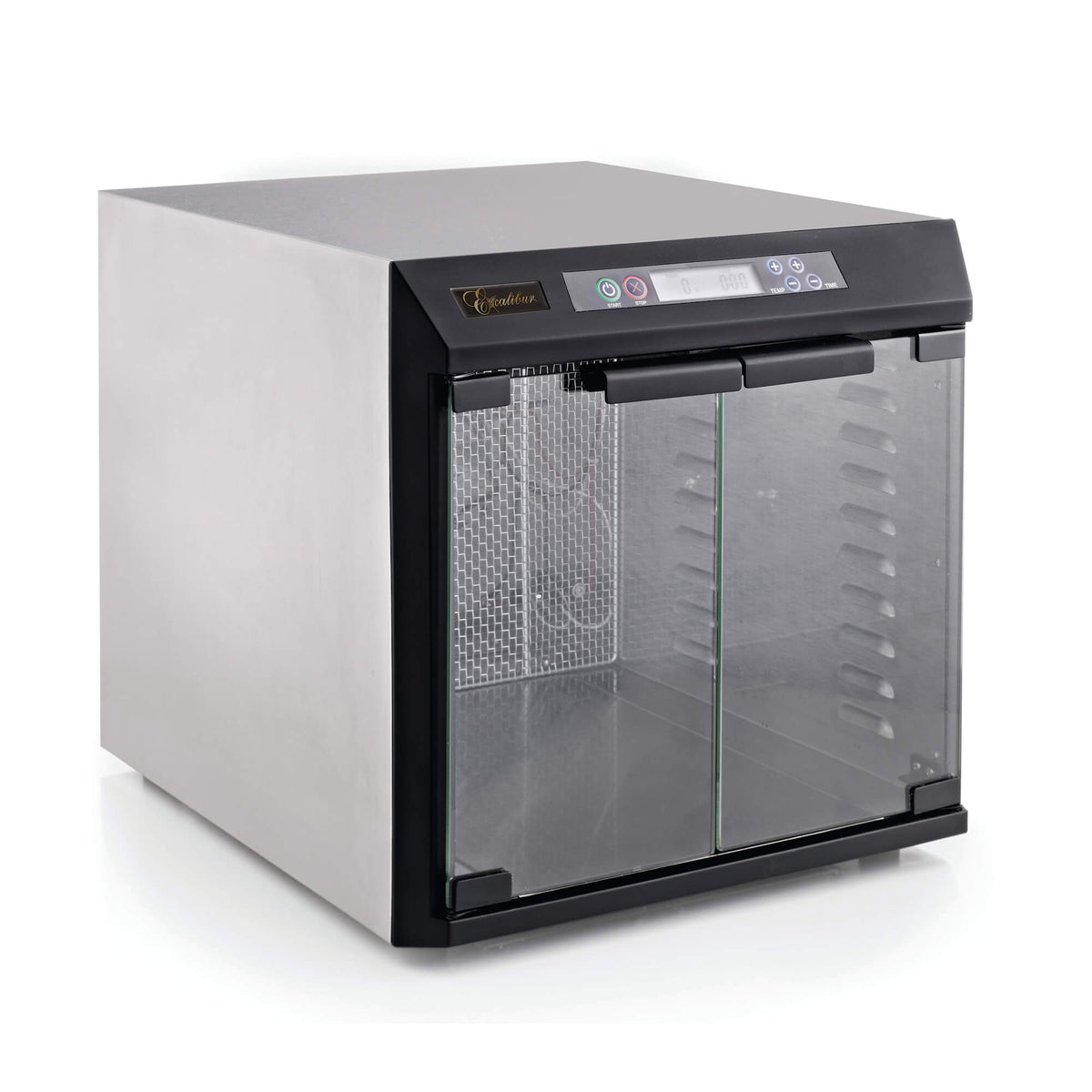 Excalibur EXC10EL 10 tray stainless steel digital dehydrator with glass armoured doors closed and no trays loaded.