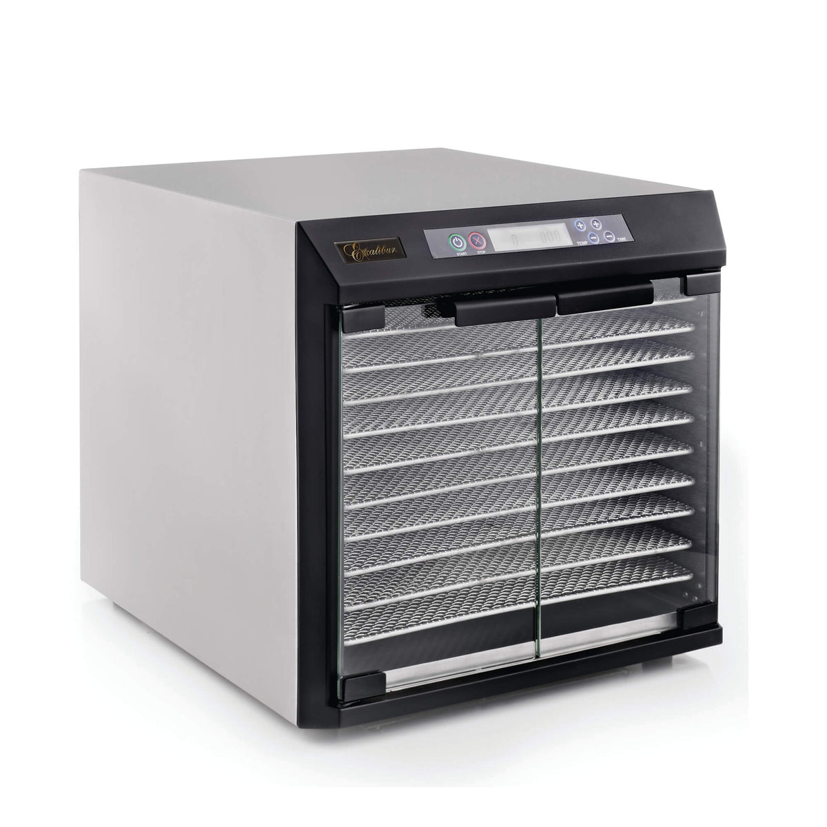 Excalibur EXC10EL 10 tray stainless steel digital dehydrator with glass armoured doors closed.