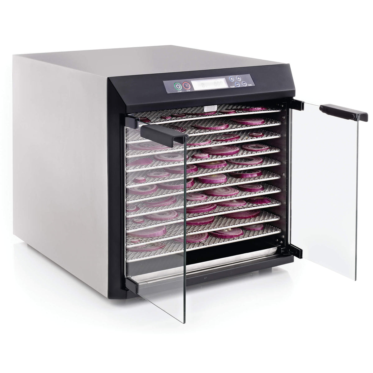 Excalibur EXC10EL 10 tray stainless steel digital dehydrator with glass armoured doors open and food on the trays.