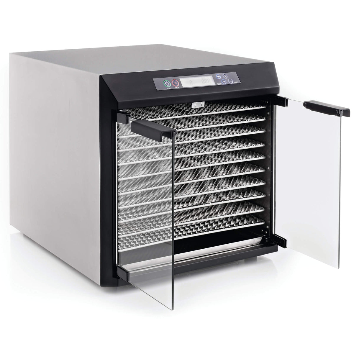 Excalibur EXC10EL 10 tray stainless steel digital dehydrator with glass armoured doors open and trays in.
