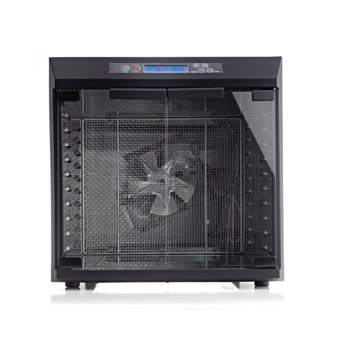 Excalibur EXC10EL 10 tray stainless steel digital dehydrator front view with glass armoured doors closed and no trays loaded.