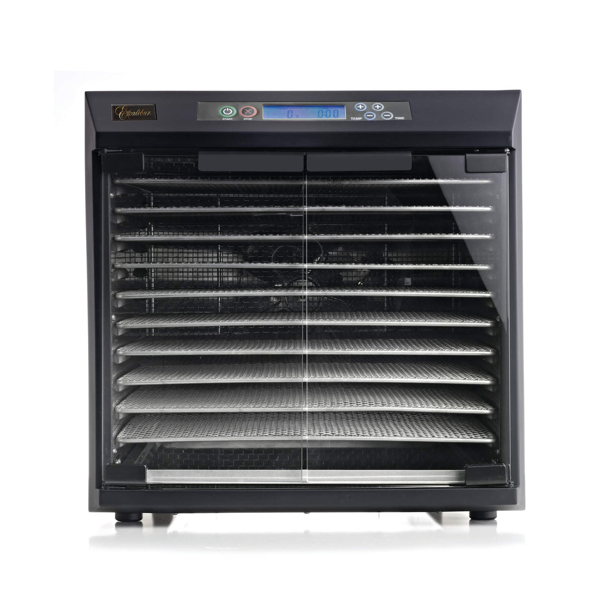 Excalibur EXC10EL 10 tray stainless steel digital dehydrator front view with glass armoured doors closed and trays in.