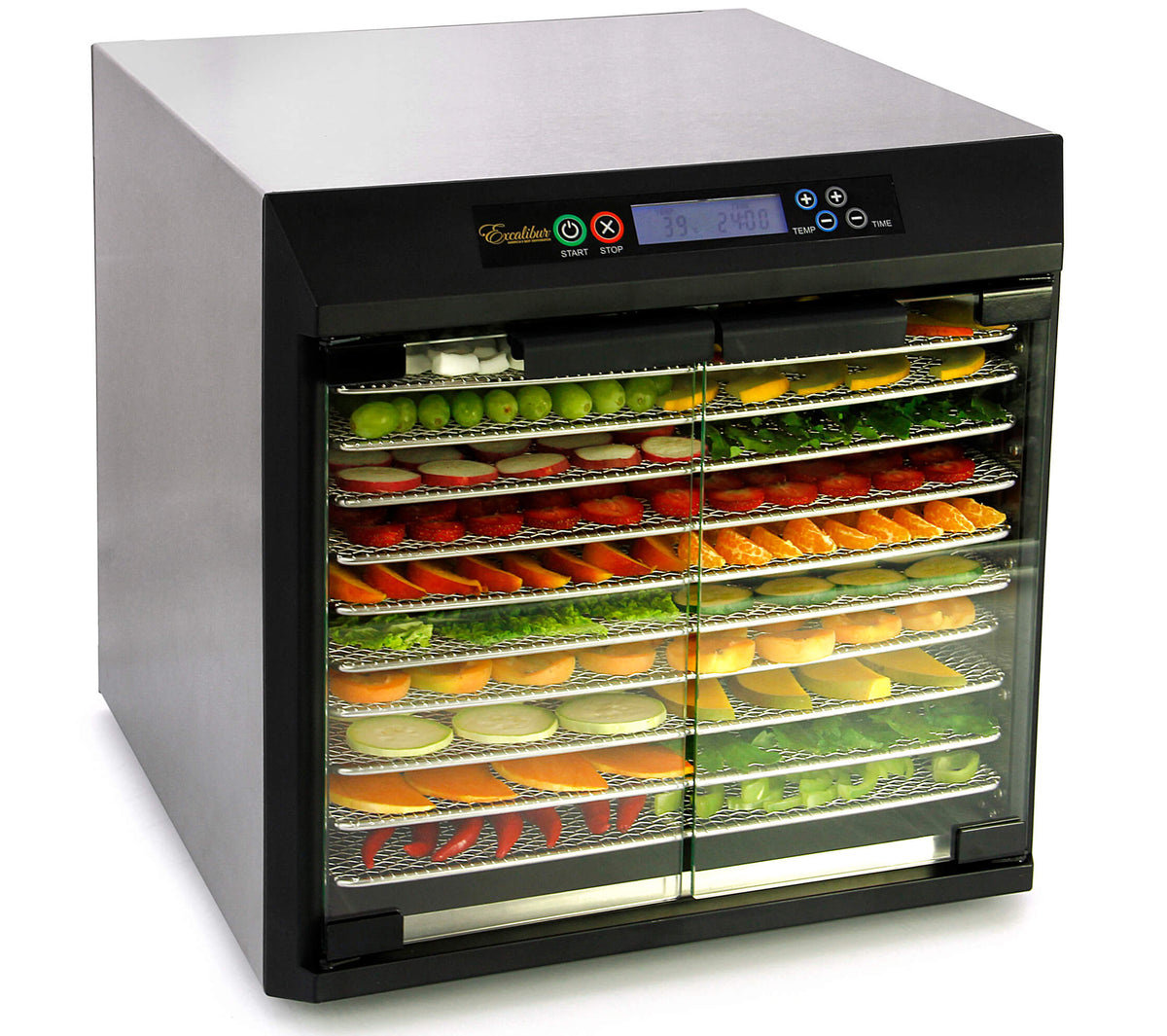 Excalibur EXC10EL 10 tray stainless steel digital dehydrator with glass armoured doors closed and food on the trays.