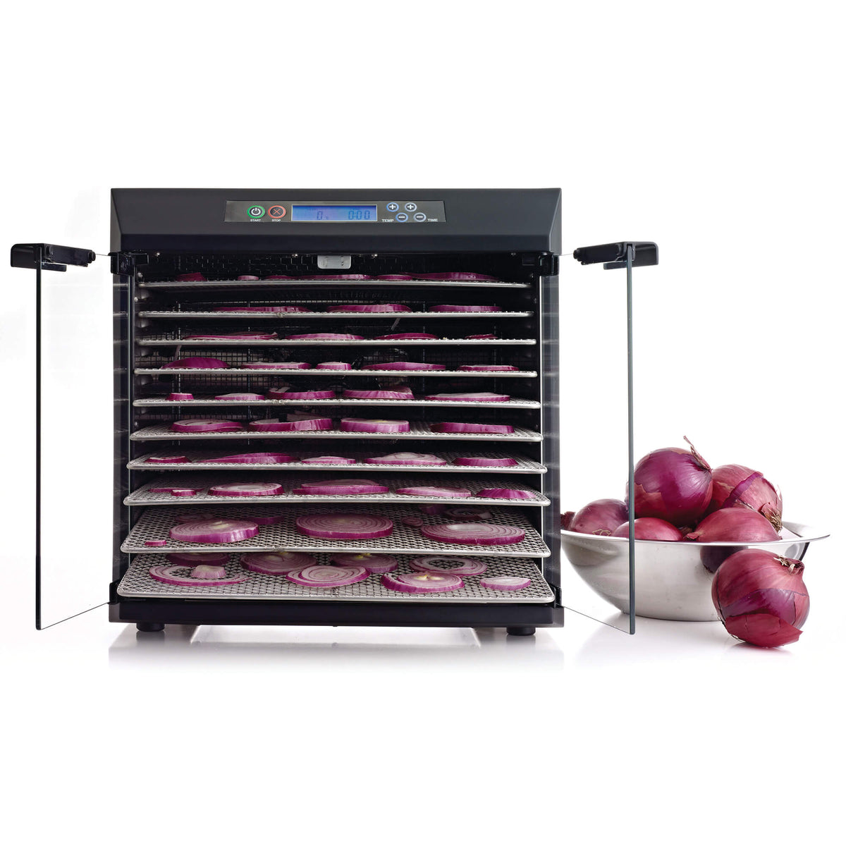 Excalibur EXC10EL 10 tray stainless steel digital dehydrator front view with glass armoured doors open and food on the trays.