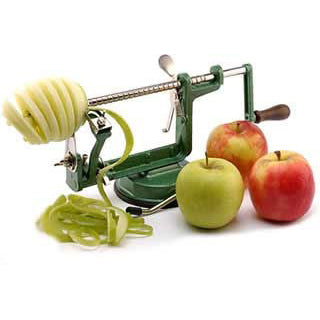 Apple Slinky machine for peeling, coring and cutting.