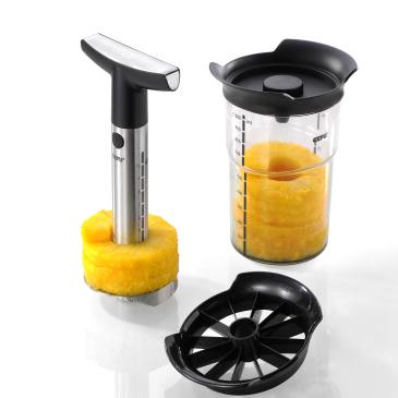 GEFU pineapple slicer professional plus cutting handle, container and aroma lid.