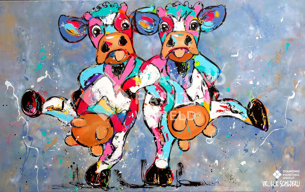Vaches en train de danser | Exclusivité Diamond Painting Monde