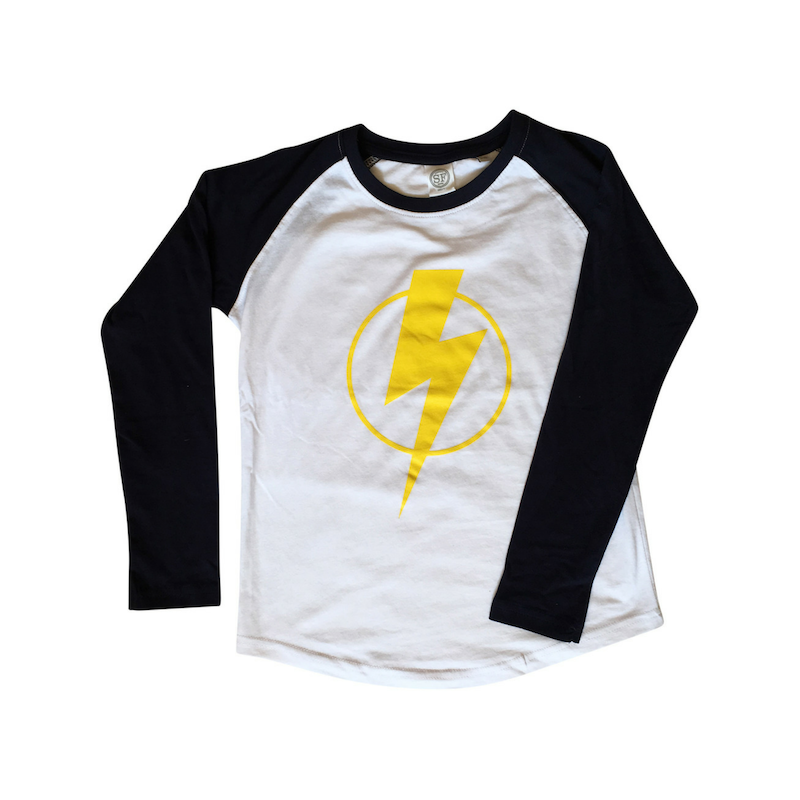 flash print t-shirt long sleeve raglan sleeved