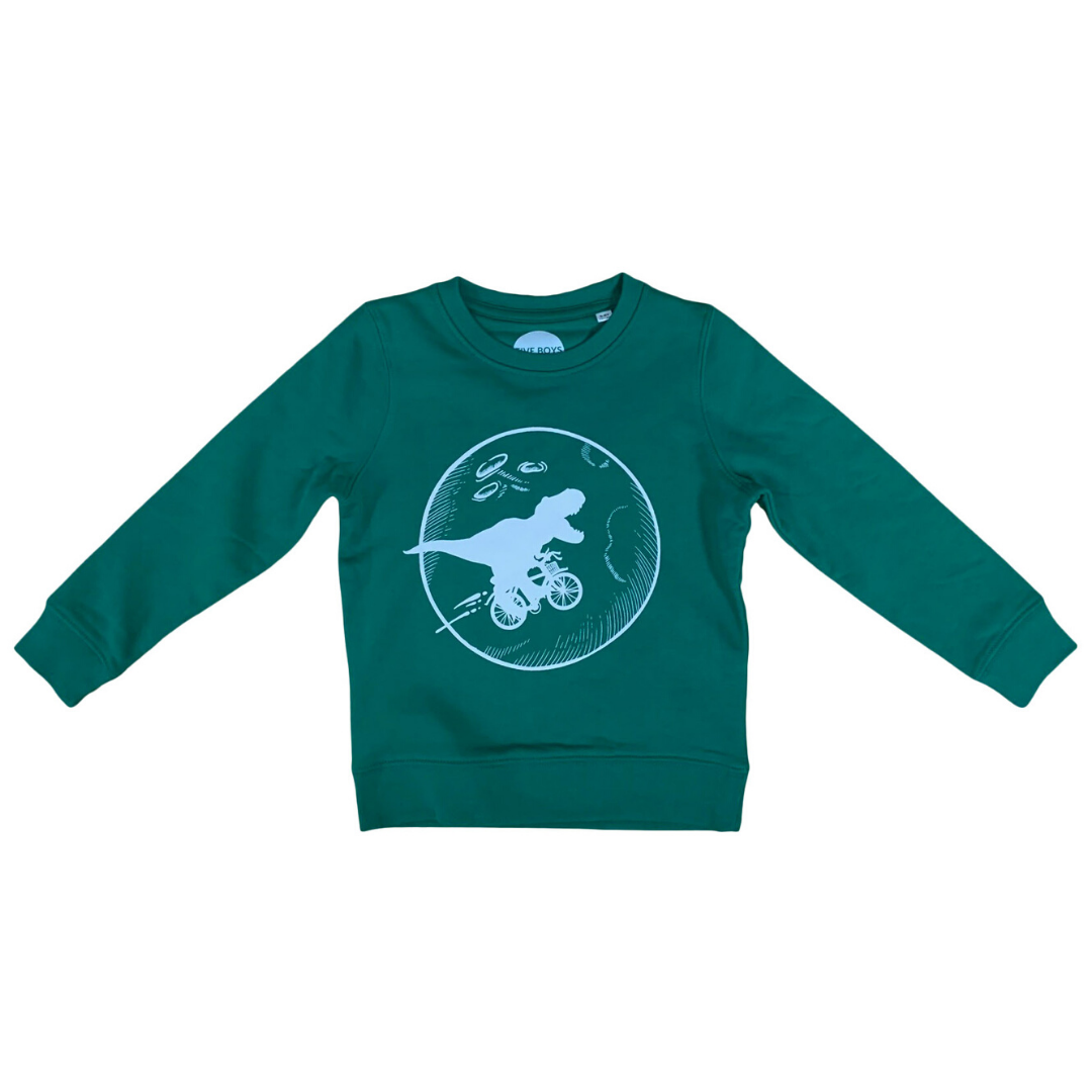 Forest Green Dinosaur Bicycle Moon Organic Sweatshirt