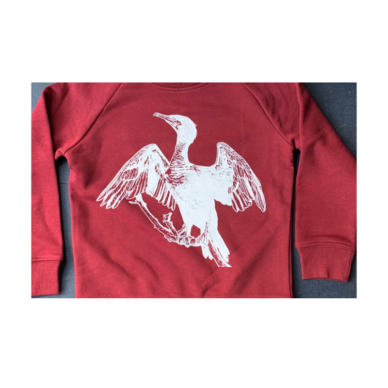 Cormorant Print Organic Sweatshirt on Burgundy