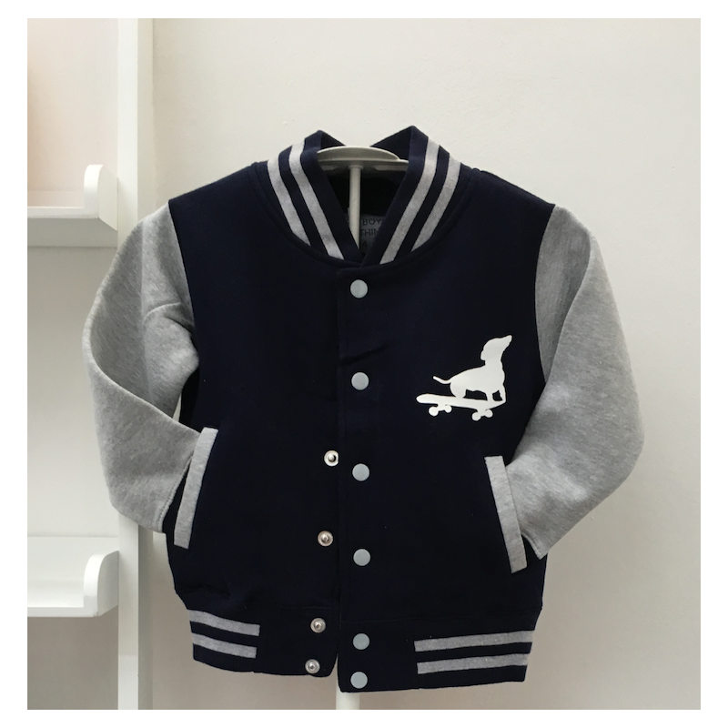 varsity jacket for kids with dog on skateboard print
