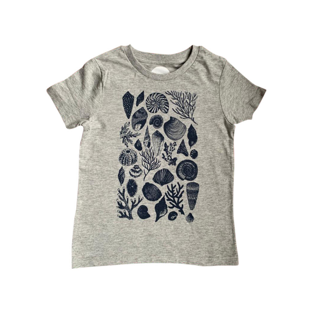 A Collection of Sea Shells on an Organic T-shirt