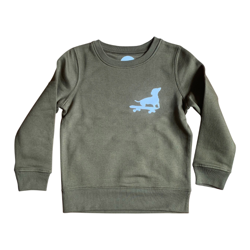 Dog on skateboard organic khaki super soft sweatshirt for boys