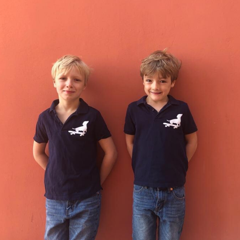 Navy Polo Shirt With Five Boys Clothing Dog Print