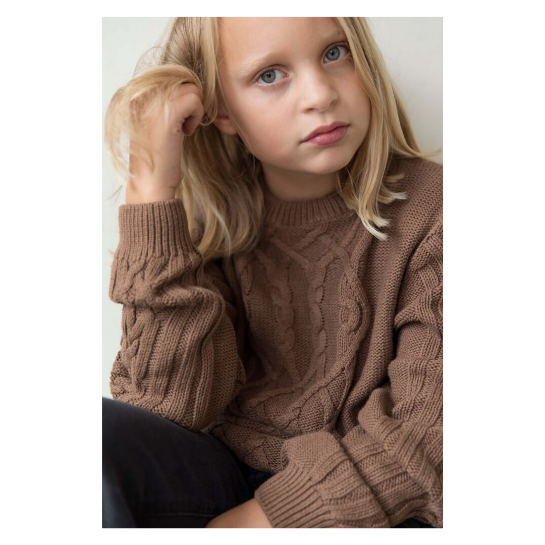 brown cable knit cotton sweater