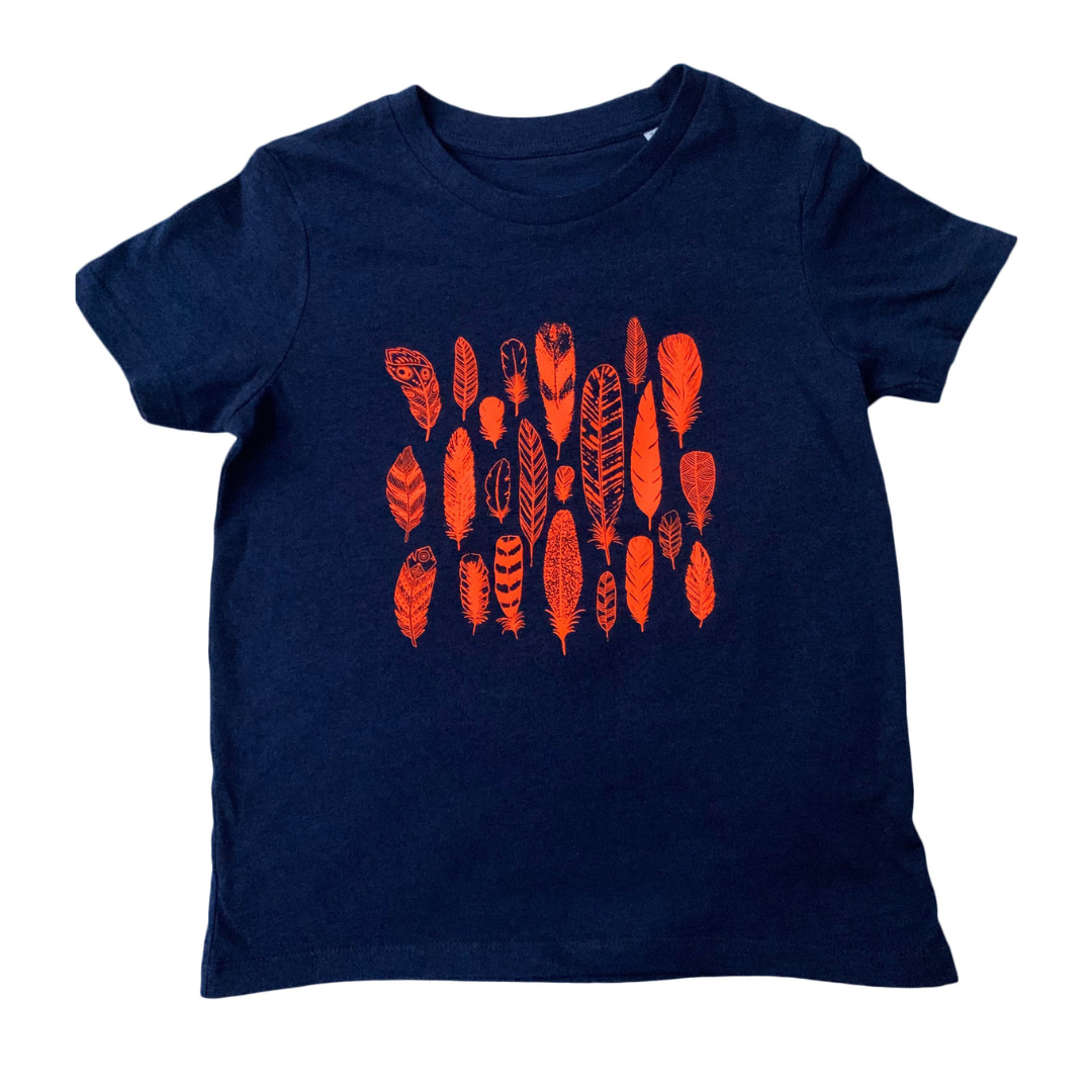 Orange Feather Print T-shirt