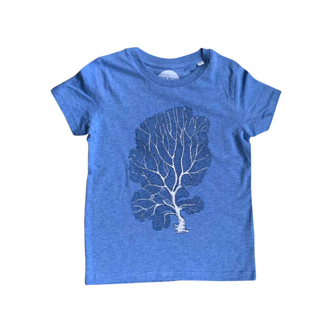 Coral Print on Organic T-shirt in Blue