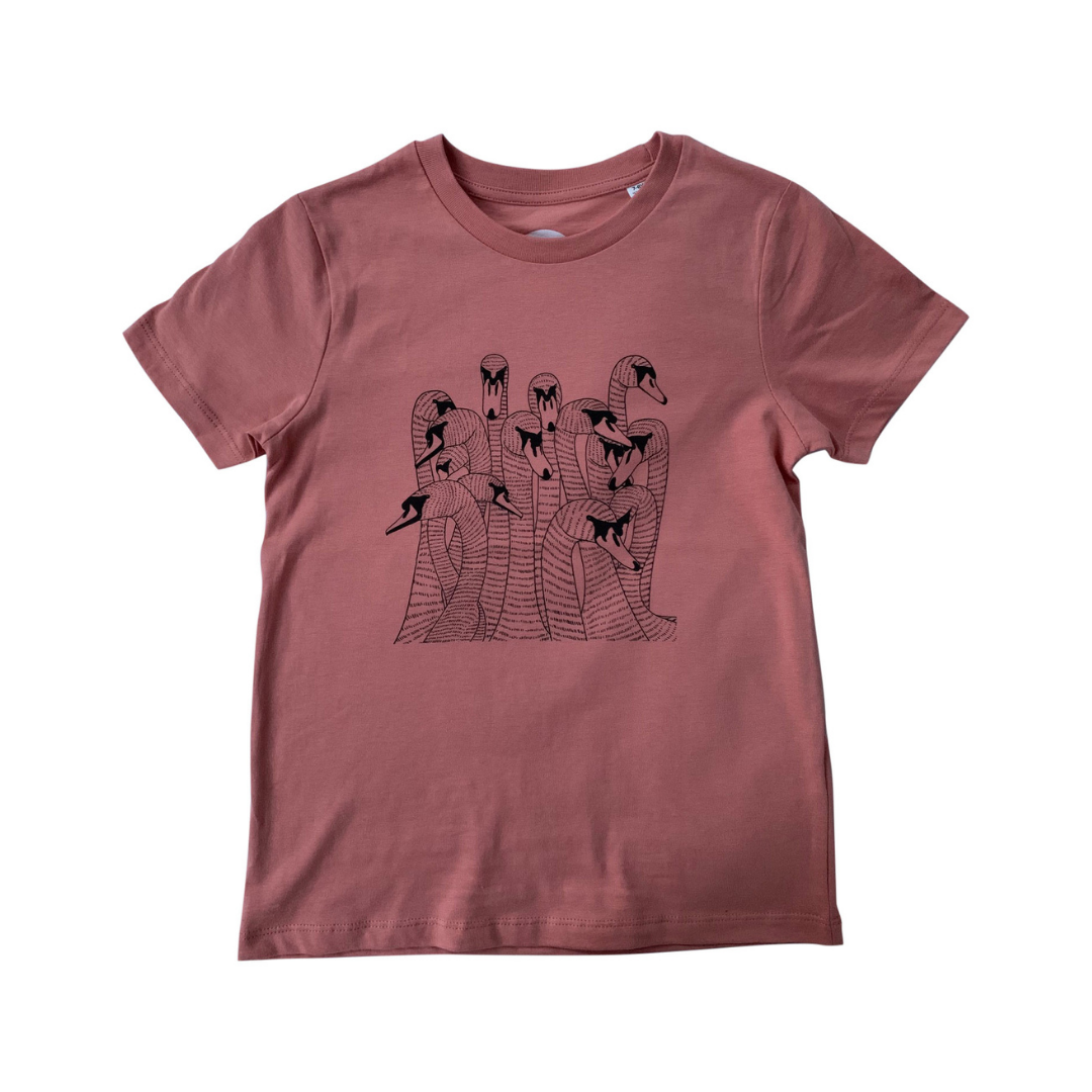 Bevy of Beautiful Swans on a Clay Print T-shirt
