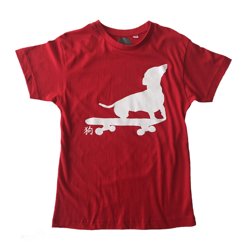 Dachshund on Skate Board Tee // Red