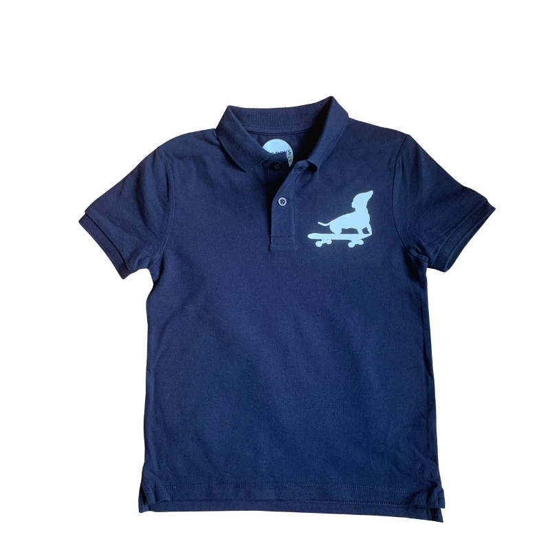 navy polo shirt for boys - dog print - organic cotton