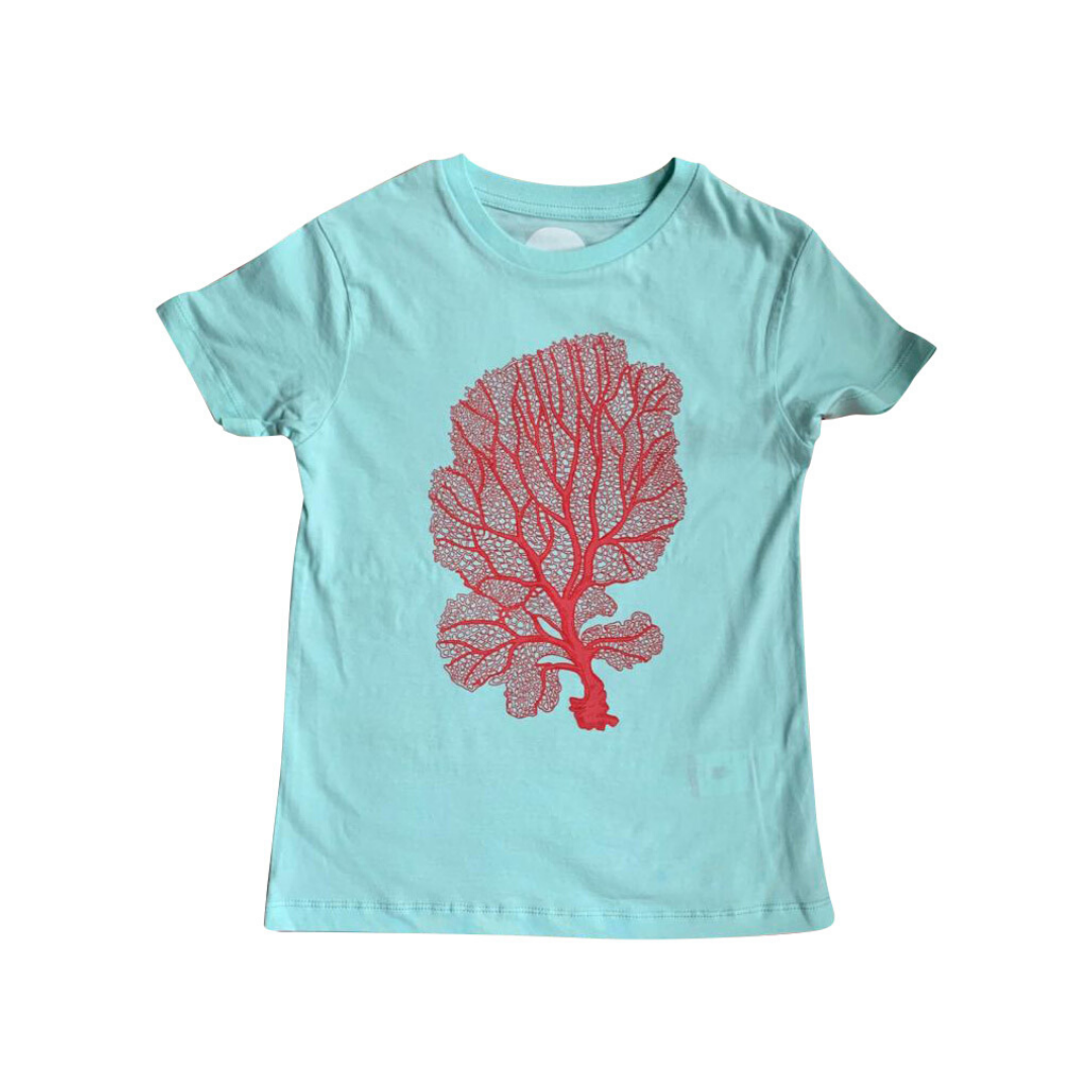 Coral Print on Organic T-shirt in Aqua