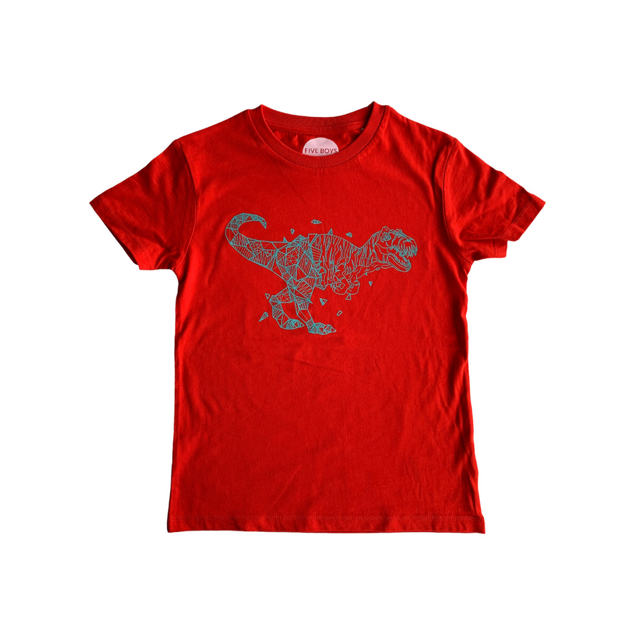 Cool Geometric Dinosaur T-shirt // Red