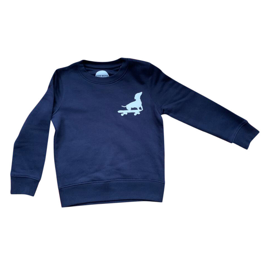 Navy Blue Sweatshirt with Dog Print