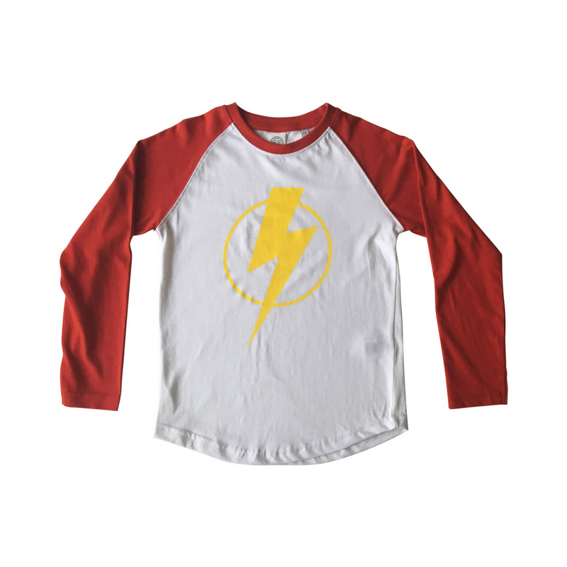 Red Baseball Tee with Yellow Flash