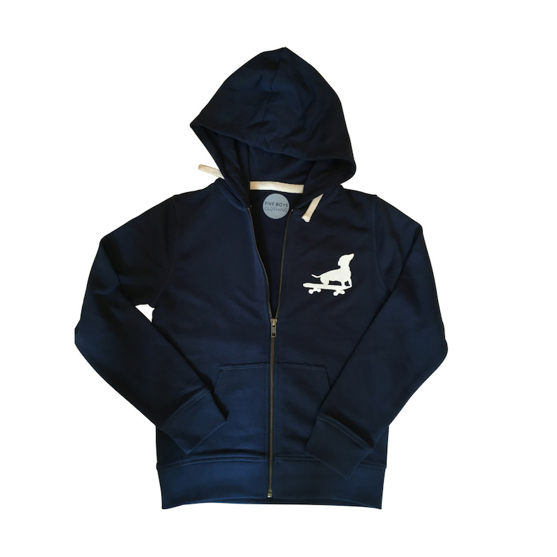 Organic Navy Blue Zip Hoodie with Dachshund Print