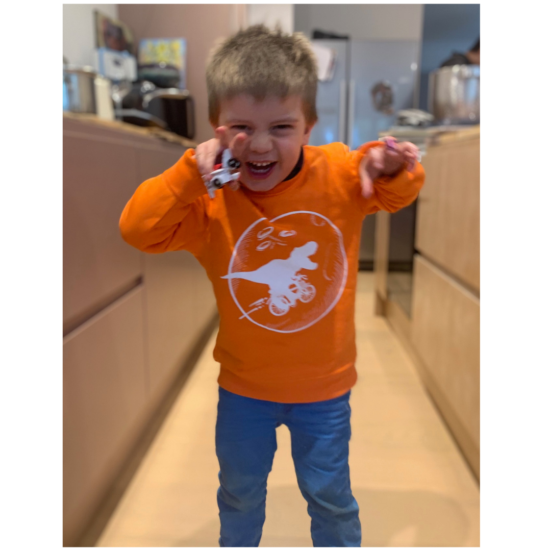 Orange Dinosaur Bicycle Moon Organic Sweatshirt