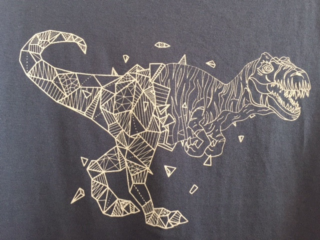 geometric t-rex detail t-shirt