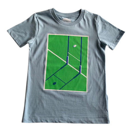 Blue and green kids rugby shirt