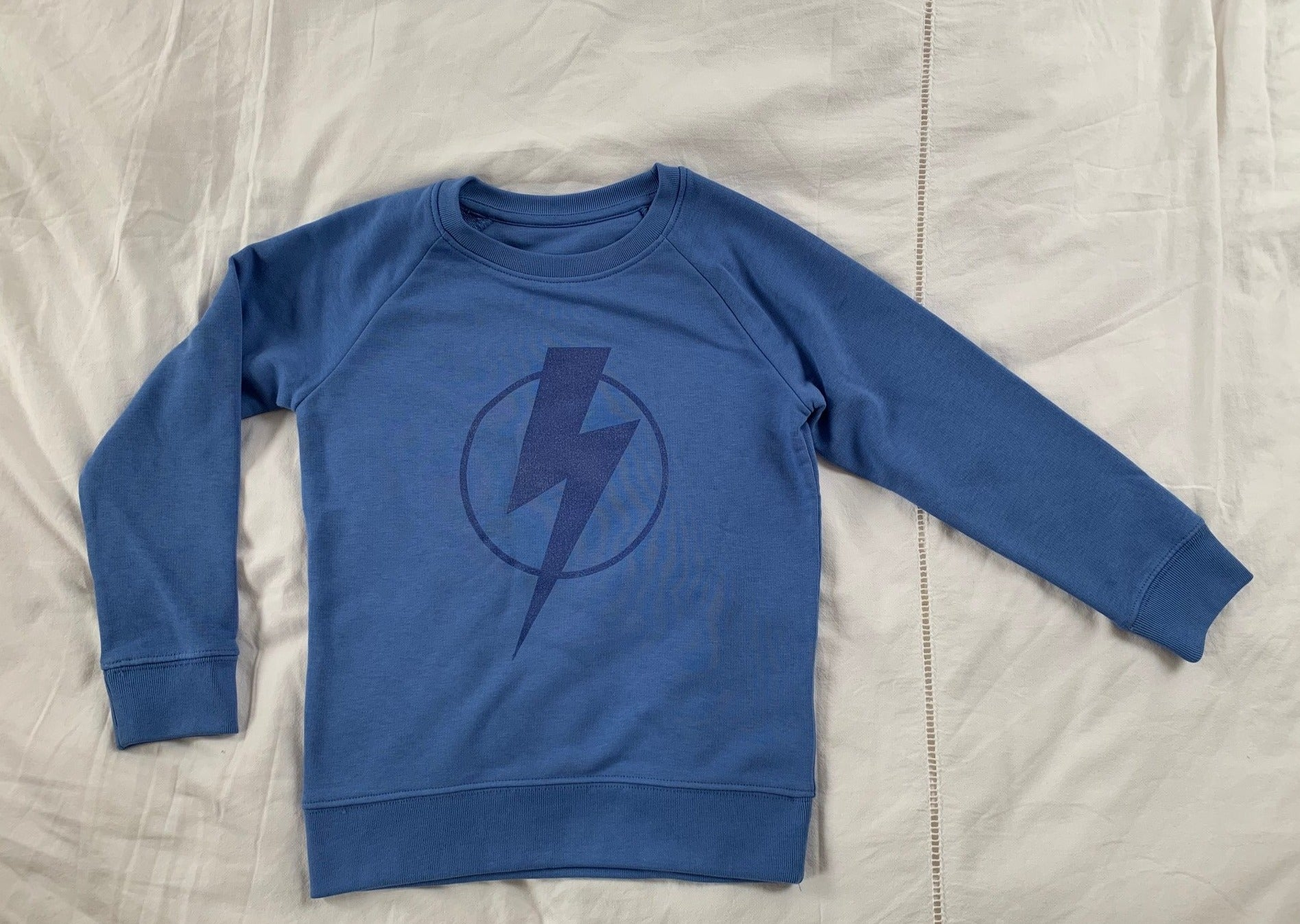Blue Flash on Blue Organic Sweatshirt