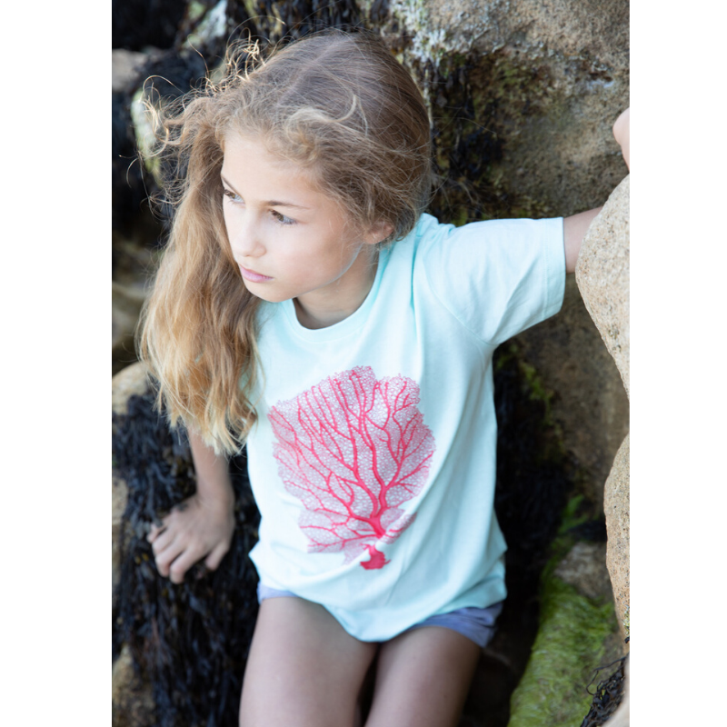 stunning fan pink coral print t-shirt for kids