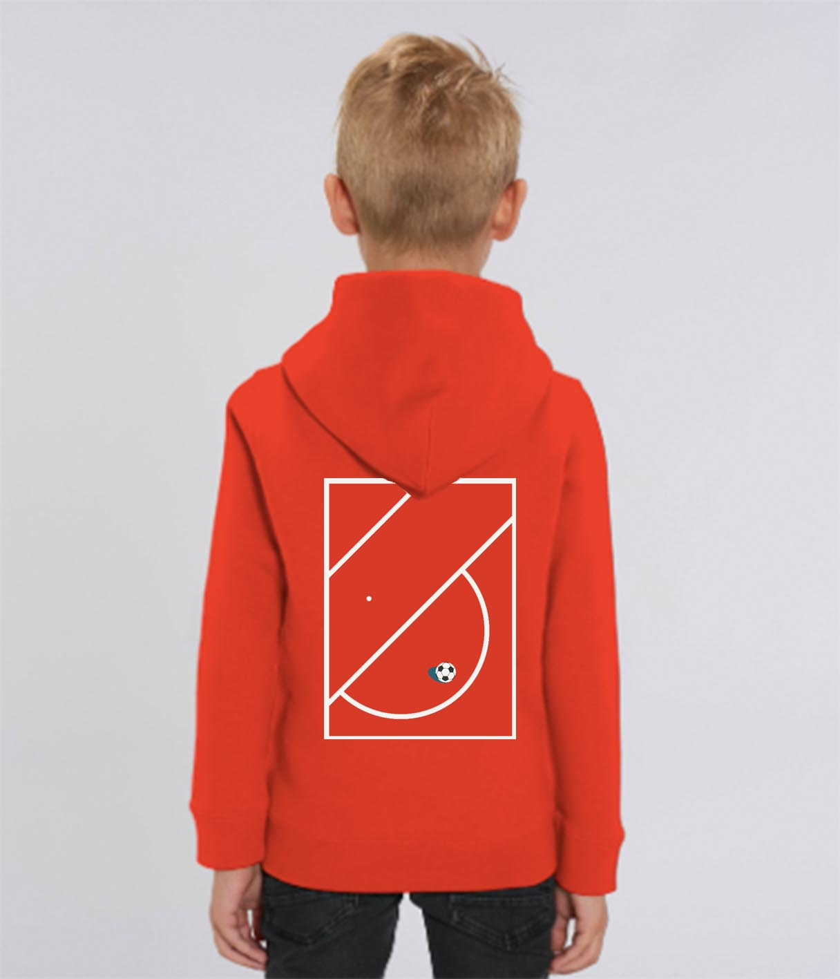 Red Football Print Sweatshirt with Hood
