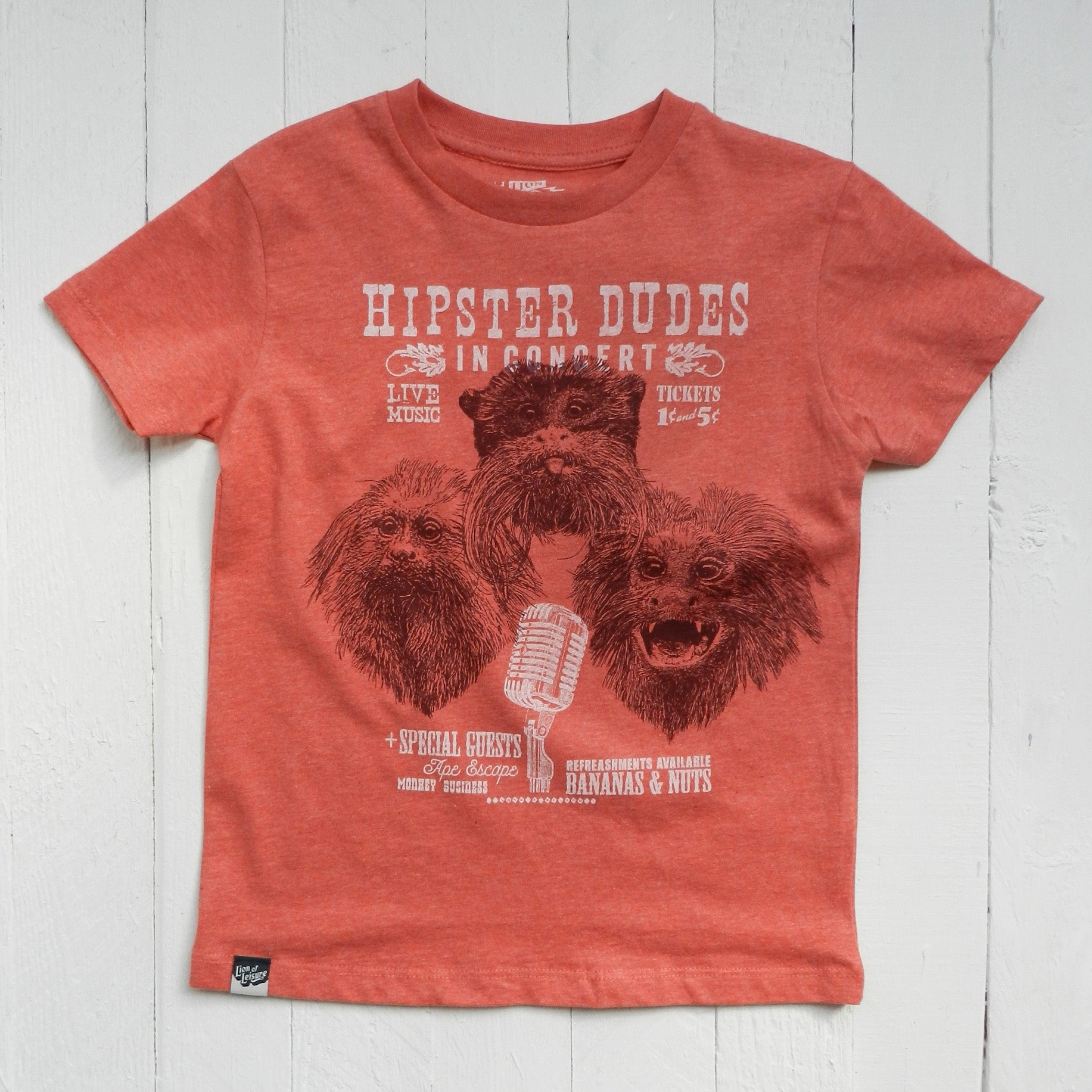 Tamarin Monkey Organic T-shirt // Red Melange