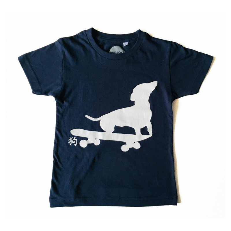 Dachshund on Skateboard T-shirt in Navy Blue