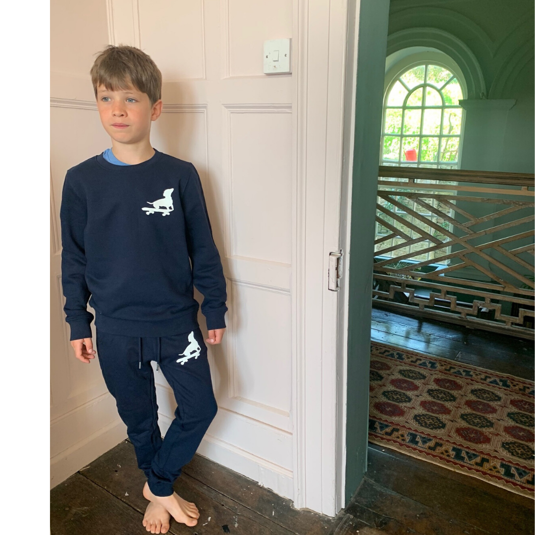 Soft navy blue sweatshirt for boys with dog print
