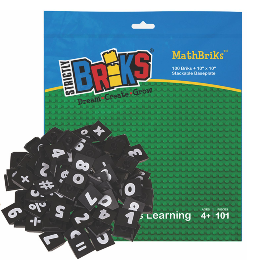 AlphaBRIKS Lego Compatible Green Baseplate with Numbers