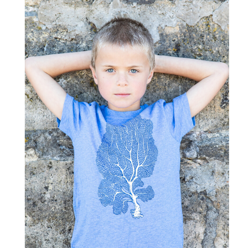stunning fan coral print t-shirt for kids