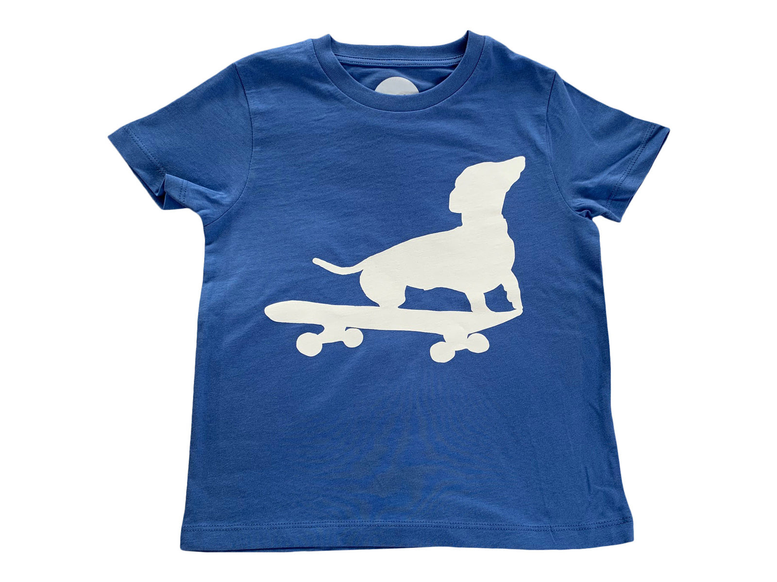 Dachshund on Skateboard T-shirt in Organic Blue Cotton NEW COLOUR