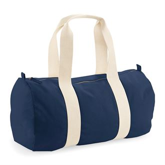 Navy Organic Cotton Barrel Bag with Dachshund Print for Sleepovers and Sport