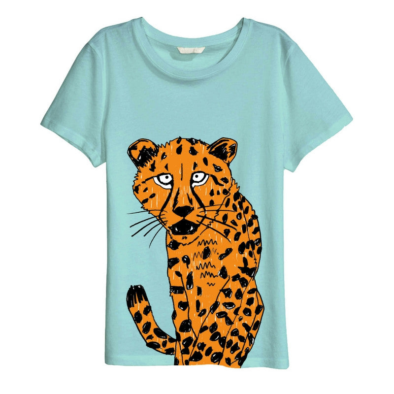 Organic Cheetah T-shirt // Mint Green