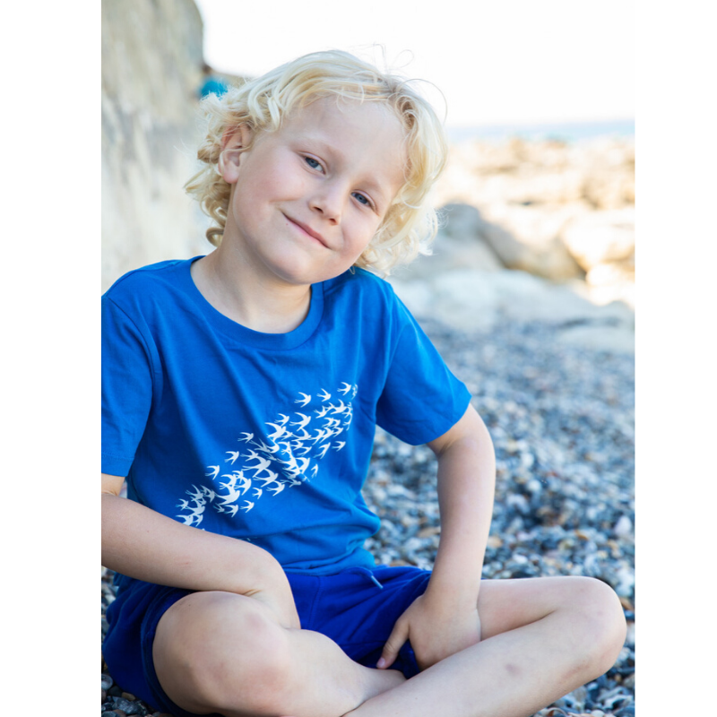 Swallow Print on Organic Blue T-Shirt for Kids